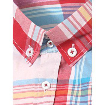 Classic Turn-Down Collar Long Sleeves Pink Plaid Shirt For Men - PINK L