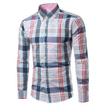 Classic Turn-Down Collar Long Sleeves Pink and Blue Plaid Shirt For Men