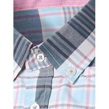 Classic Turn-Down Collar Long Sleeves Pink and Blue Plaid Shirt For Men - BLUE/PINK L