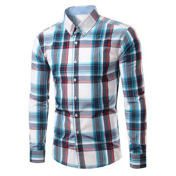 Classic Turn-Down Collar Long Sleeves Plaid Shirt For Men
