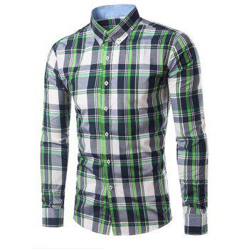 Classic Turn-Down Collar Long Sleeves Black and Green Plaid Shirt For Men