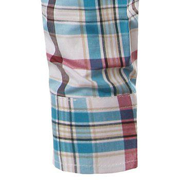 Classic Turn-Down Collar Long Sleeves Blue and Red Plaid Shirt For Men - BLUE/RED 4XL