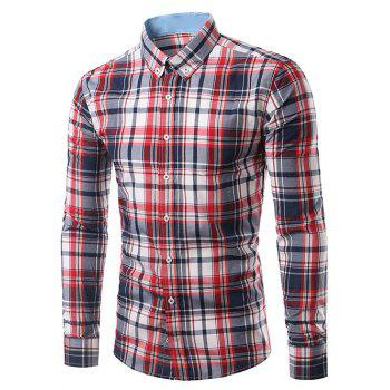Classic Long Sleeves Red and Deep Blue Plaid Shirt For Men
