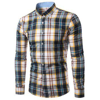 Classic Turn-Down Collar Long Sleeves Yellow and Black Plaid Shirt For Men