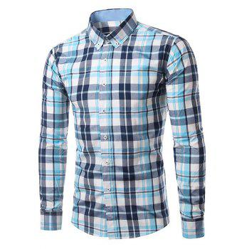 Classic Turn-Down Collar Long Sleeves Blue Plaid Shirt For Men