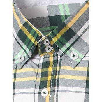 Classic Turn-Down Collar Long Sleeves Yellow and Green Plaid Shirt For Men - YELLOW/GREEN 2XL