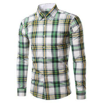 Classic Turn-Down Collar Long Sleeves Yellow and Green Plaid Shirt For Men