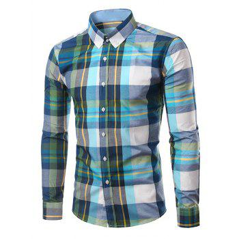 Classic Turn-Down Collar Long Sleeves Deep Green Plaid Shirt For Men