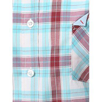 Chic Folded Pocket Long Sleeves Light Blue and Red Tartan Shirt For Men - BLUE/RED M