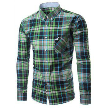 Chic Folded Pocket Long Sleeves Deep Green Tartan Shirt For Men