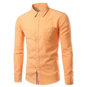 Pure Color Turn-Down Collar Long Sleeve Shirt For Men