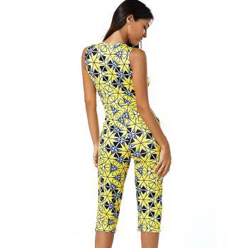 Plunge Neck Sleeveless Geometric Print Skinny Romper - YELLOW L
