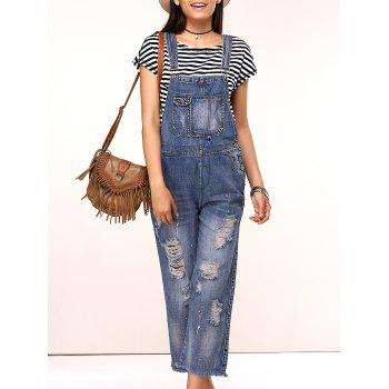 Casual Ripped Wide Leg Overalls