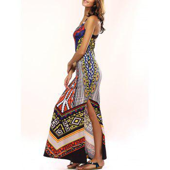 Stylish Criss Back Ethnic Print Dress For Women