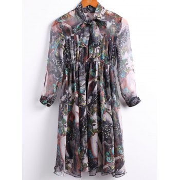 Vintage Bow Tied Collar 3/4 Sleeve Multicolor Print Chiffon Dress For Women