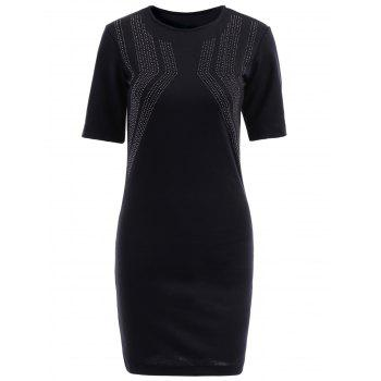 Elegant Black Round Collar Rhinestone Embellished Short Sleeve Dress For Women