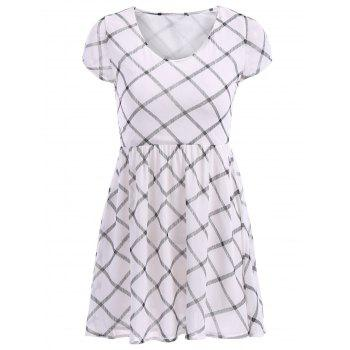 Brief Plaid V-Neck Short Sleeve Chiffon Dress For Women