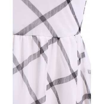 Brief Plaid V-Neck Short Sleeve Chiffon Dress For Women - WHITE/BLACK S