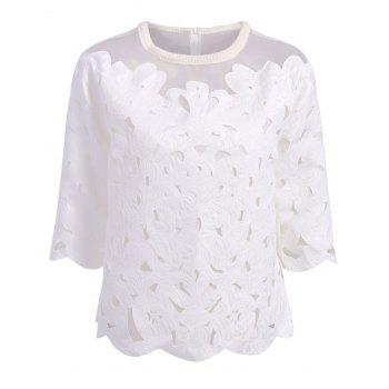 Sweet Organza Splicing Round Neck 3/4 Sleeve Blouse For Women