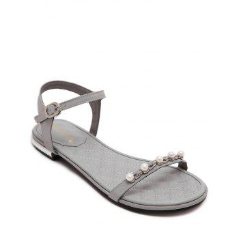 Concise Flat Heel and Beading Design Women's Sandals