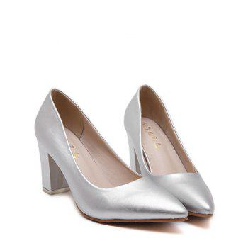 Elegant Pointed Toe and Solid Color Design Women's Pumps - SILVER 37