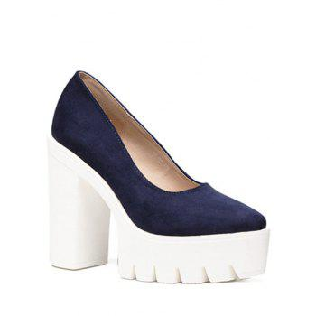 Trendy Flock and Platform Design Women's Pumps