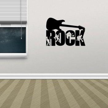 Fashionable Waterproof Guitar Rock Design DIY Wall Sticker - BLACK