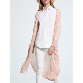 Trendy 3/4 Sleeve Buttoned Pocket Design Women's Cardigan