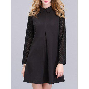 Trendy Peter Pan Collar Spliced Solid Color Women's Dress