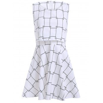 False Two Pieces Plaid Pattern Mini Dress