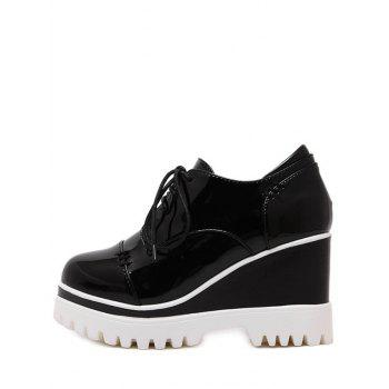 Chic Tie Up and Patent Leather Design Women's Wedge Shoes - BLACK BLACK