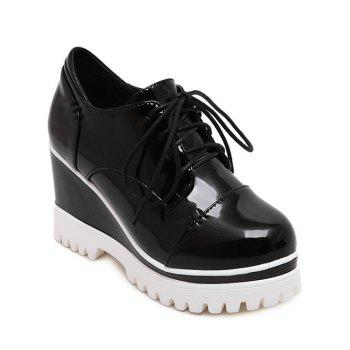 Chic Tie Up and Patent Leather Design Women's Wedge Shoes