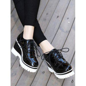 Chic Tie Up and Patent Leather Design Women's Wedge Shoes - 37 37