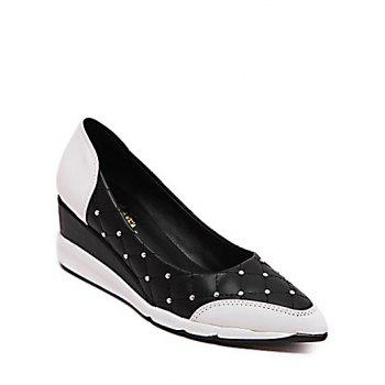 Stylish Rivets and Argyle Pattern Design Women's Wedge Shoes - BLACK 38