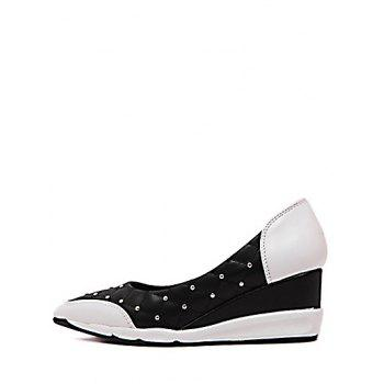 Stylish Rivets and Argyle Pattern Design Women's Wedge Shoes - 38 38