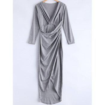 Cute Furcal Plunging Neck Long Sleeve Dress