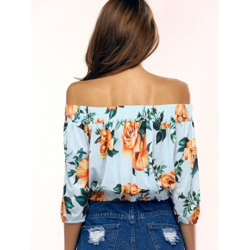 Stylish Off The Shoulder Floral Print Blouse For Women - LIGHT BLUE S