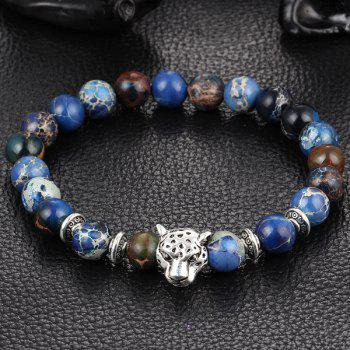 Beads Natural Stone Leopard Head Shape Alloy Bracelet