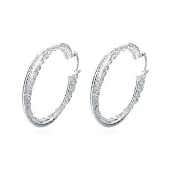 Pair of Silver Plated Double Layered Round Hoop Earrings