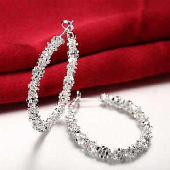 Pair of Geometric Shape Hoop Earrings - SILVER