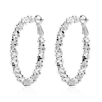 Pair of Geometric Shape Hoop Earrings