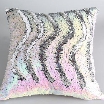 Creative DIY Pattern Iridescent Silvery Two Tone Sequins Pillow Case