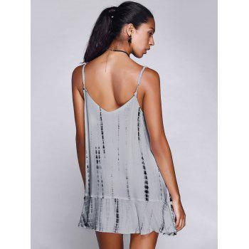 Chic Spaghetti Strap Asymmetric Frayed Backless Dress For Women - WHITE M