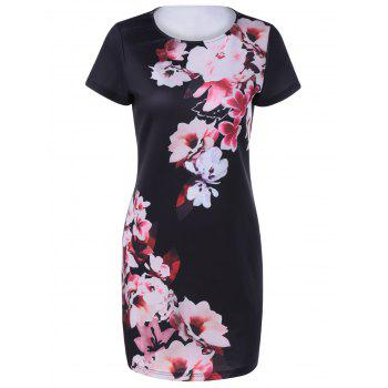 Fashionable Women's Round Collar Short Sleeves Printing Dress