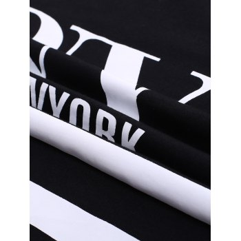 BoyNewYork Star Stripes Pattern T-Shirt - BLACK XL
