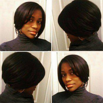 Vogue Short Side Parting Straight Dark Brown Synthetic Hair Wig For Women