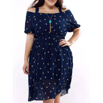 Buy Plus Size Brief Cold Shoulder Printed Dress BLUE