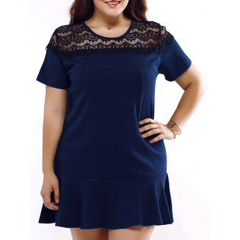 Plus Size Chic Lace Splicing Flounced Dress