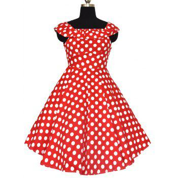 Retro Polka Dot Convertible Flouncing Dress