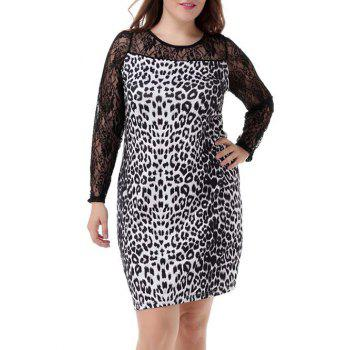 Plus Size Sophisticated Leopard Print Sheath Dress